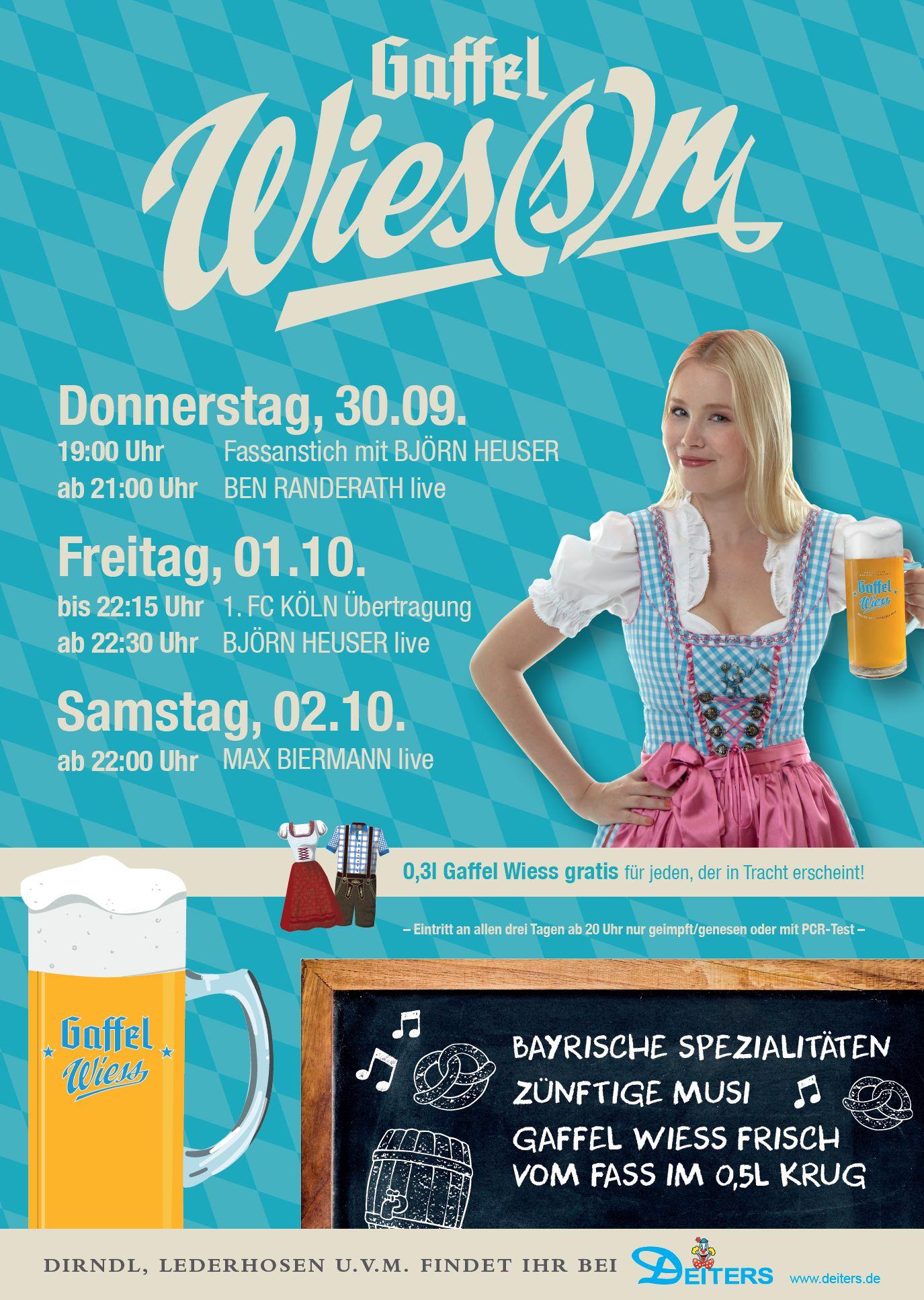 Rheinische Wies(s)n im Gaffel am Dom: Blau-weiße Festtage vom 30. September bis 2. Oktober