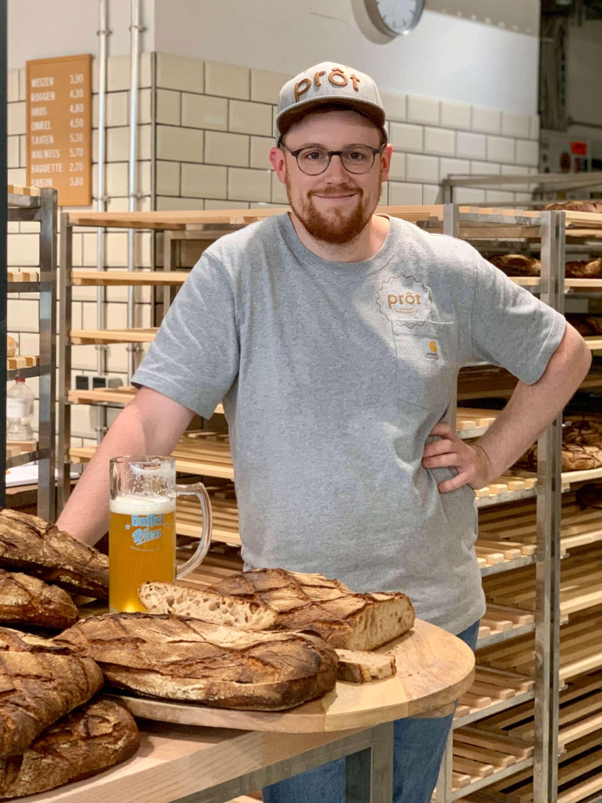 Von Alex handgebacken: Bierprôt aus frischem Gaffel Wiess vom Fass